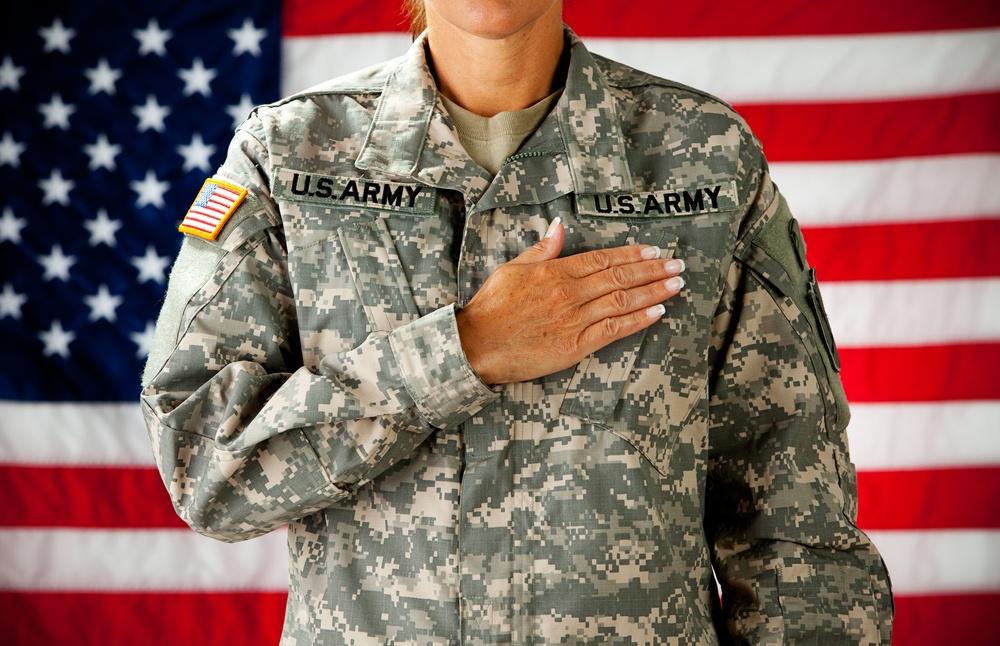 Female Army Soldier Pledging Allegiance