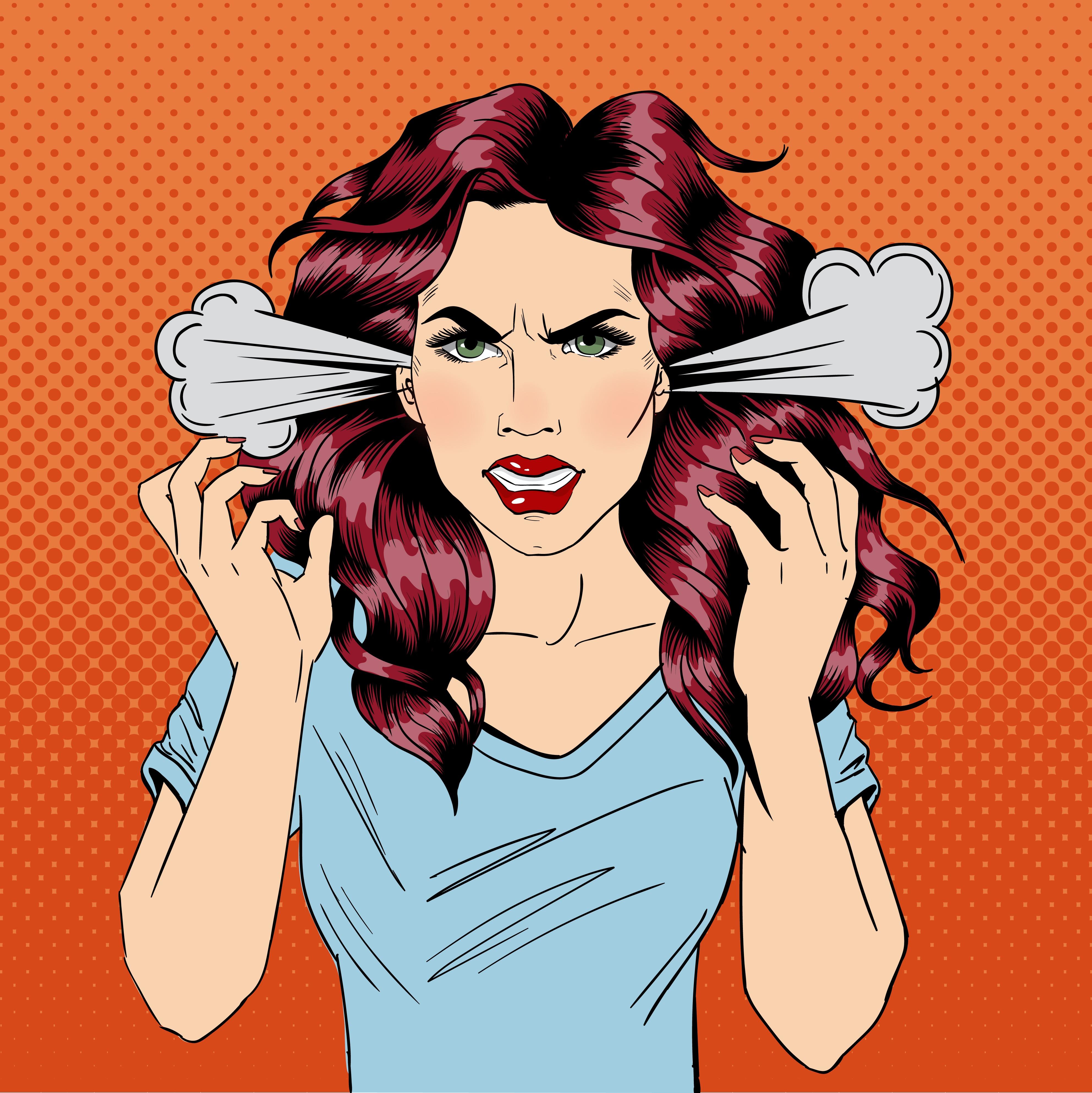 Comic illustration of angry woman