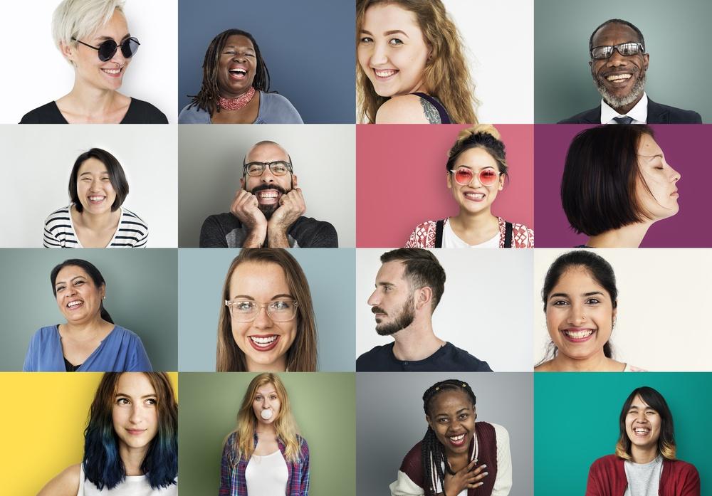 Grid of diverse people